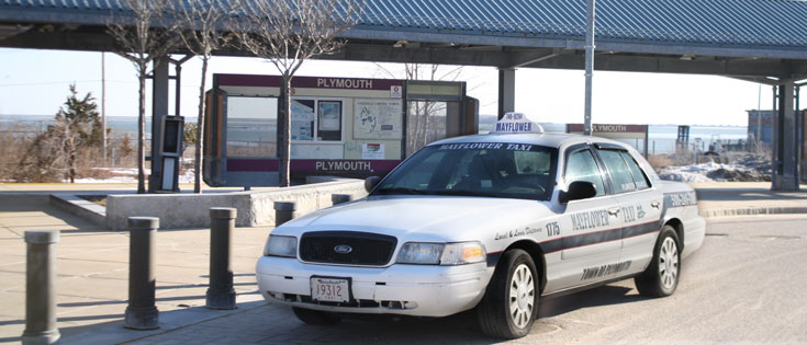 Mayflower Taxi At The Plymouth MBTA Station