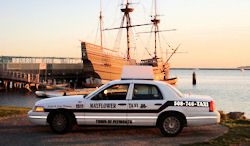 Mayflower Taxi cab meets Sailing Ship Mayflower II